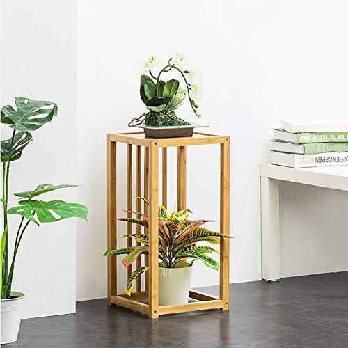Support de fleurs multifonction Support de fleurs multicouche au sol Support de plantes en bois Balcon Etagère de salle de séjour Gagnez de la place pour l'intérieur et l'extérieur, Laiton, 2 couches