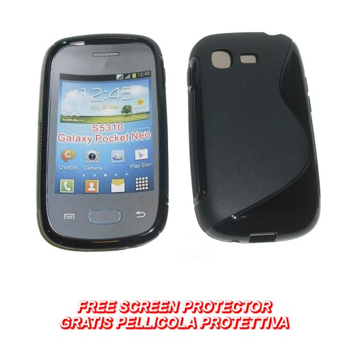 KGC Doo (B8) Custodia TPU Wave Nera per Samsung Galaxy Pocket Neo S5310 - Custodia Cover Case per Samsung Galaxy Pocket Neo S 5310 - Cover