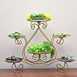 MQW European-Style Multi-Layer Fruit Plate Cake Rack Household Candy Dry Fruit Dessert Tray Rack Wedding Table Fruit Plate Iron Art 4340cm Delicate and Beautiful (Color : Gold)
