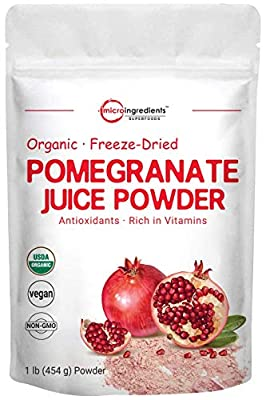Organic Pomegranate Juice Powder, Freeze-Dried and Cold-Pressed, Powerfully Supports Cardiovascular Health, Cholesterol Metabolism and Anti-Oxidant. Non-GMO and Vegan Friendly