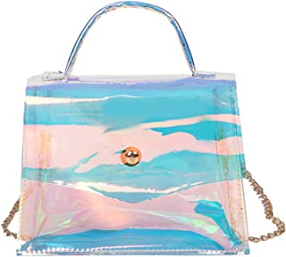 Zeang Damen Fashion Transparente Schultertasche Casual Kette Klappe Messenger Bag