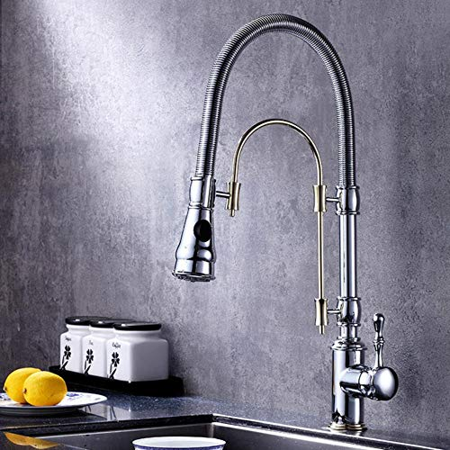 Grifos de la cocina 360 giratorio cromo sólido y Golden Brass golpecito de la cocina monomando fregadero grifos caliente y fría cucina rubinetto, cromo y oro