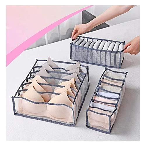 Drawer Organiser Nylon Divider Box, Foldable Underwear Storage Boxes 3 Pcs/Set, Wardrobe Closet Home Organization Divider, with 6/7/11 lattice Cabinet Organizers use in Socks Bras Underwear Storage