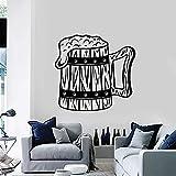 Taza Hop Espuma Cerveza Etiqueta De La Pared Cervecería Pub Alcohol Arte Interior Pegatinas Mural Vinilo Decoración De Ventana Hombre De La Cueva Calcomanías De Cocina 57X60Cm