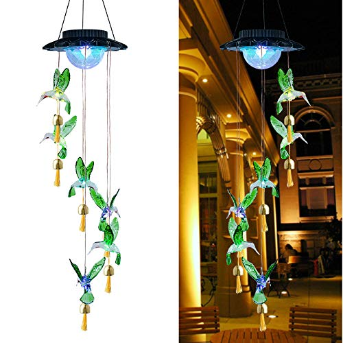 Solar Hummingbird Wind Chimes for Outside, 7 Color Changing Solar Hanging Light - Led Waterproof Solar Wind Chime Ambient Light-Solar Windchimes Outdoors Ball Lights Rotating for Home Garden Decor
