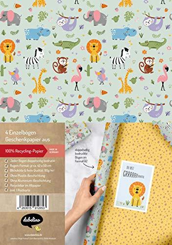 dabelino Geschenkpapier-Set für Kinder: Dschungel/Safari Tiere/Zoo