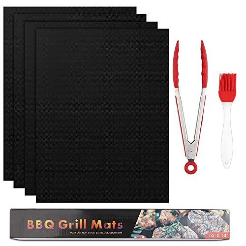 Vegena BBQ grillmattenset, 4-delige set, anti-aanbaklaag, grill- en bakmat, herbruikbaar, PFOA-vrij (40 x 33 cm) + siliconen borstel + grilltang, leuke grillmat voor gasgrill en houtskool