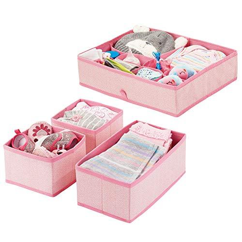 mDesign 4er-Set Kinderzimmer Aufbewahrungsbox aus Polypropylen – Stoff Aufbewahrungsboxen für Babysachen – auch als Kinderschrank...