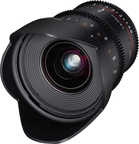 Samyang 20/1,9 Objektiv Video DSLR Nikon F manueller Fokus Videoobjektiv 0,8 Zahnkranz Gear, Weitwinkelobjektiv schwarz