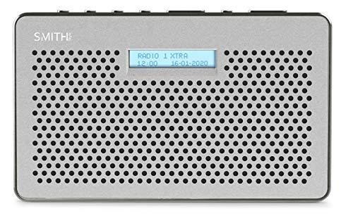 Smith-Style Gemini FM DAB radio digitale con timer sleep timer, schermo LCD e presa per cuffie, radio DAB/radio FM, batteria e rete con 20 impostazioni preimpostate, grigio