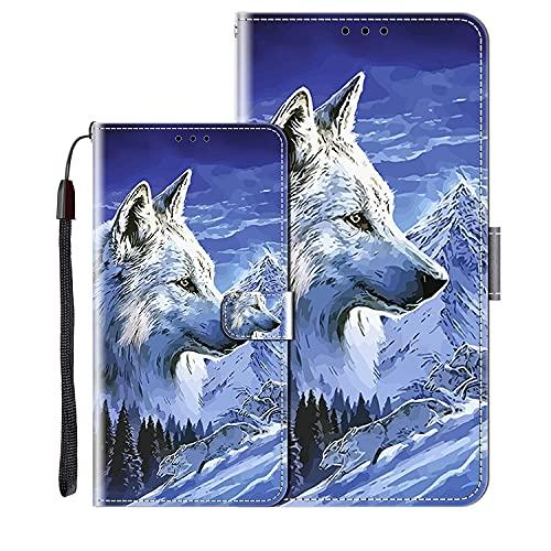 vingarshern Klapphüllen für Alcatel Flash Plus 2 Schutzhülle Mit Magnetverschluss Flip Etui Lederhülle Handytasche ALCATEL Flash Plus2 Hülle Klappbares Leder Brieftasche,Wolf Muster-1