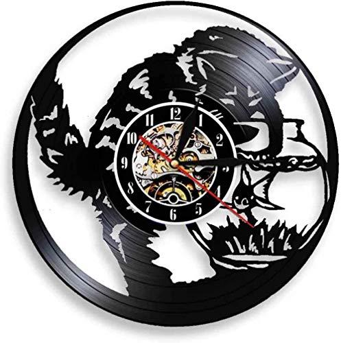 N-P Reloj de Pared con Disco de Vinilo Gatito atrapar Peces Reloj con Disco de Vinilo Amantes Hombres Mujer Adolescentes y niños Arte Decoración de Pared Obra de Arte Reloj Negro de 12 Pulgadas