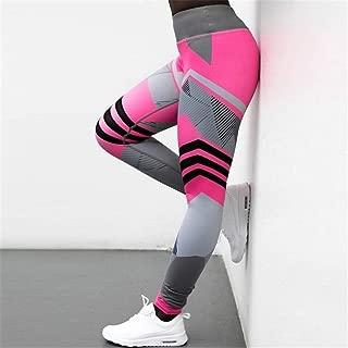 Jinqiuyuan Women Quick Dry Sport Fitness Leggins Geometric Printed Sports Pants Yoga Pants Leggings Slim Tights Trousers for Women S-XXXL (Color : Red, Size : S)