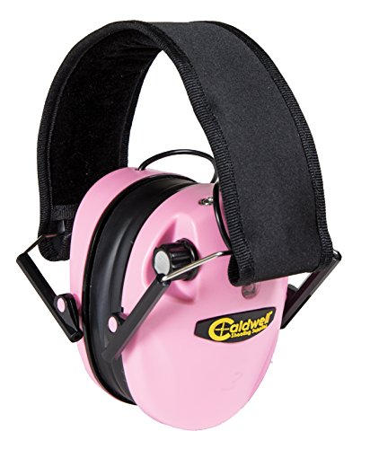 Caldwell E-Max - ADULT Pink - Low Profile Electronic 23 NRR Hearing Protection with Sound Amplification - Adjustable Earmuffs for Shooting, Hunting and Range