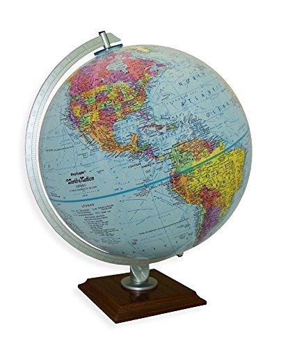 Replogle Timeless - Classic Blue Ocean Desktop World Globe, Cherry Finish Square Base, Over 4,000 Place Names, Designed for Home Décor (12'/30 cm Diameter)