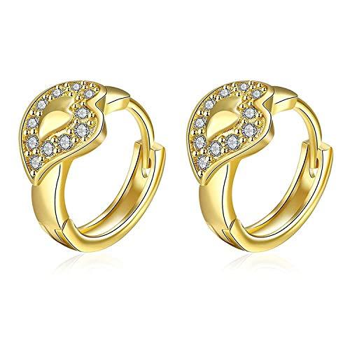 OUHUI Novedad Joyas-Pendientes de tuerca bañados en plata Forma de corazón Oro CZ Cristal Oro gota para el oído
