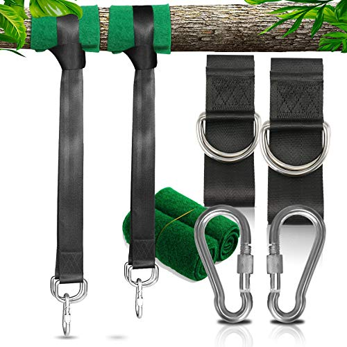 Tree Swing Straps Hanging Kit Hammock Attachment, 150cm Long Straps with 2 Heavy Duty Safety Carabiner (Holds 1100lbs) Perfect for Outdoor Garden Hammock Hanging Chair