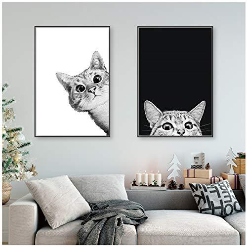 NIESHUIJING Leinwandbilder Malerei Nordischen Stil Schöne Schwarz Weiß Katzen Poster Wandkunst Tiere Modulare Bilder 60x80cmx2pcs Kein Rahmen