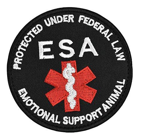 JFFCESTORE Emotional Support Animal Patch Vests/Harnesses Tactical Dog Pack Hound Backpack Morale Badge Applique Hook & Loop Fastener Patch (ESA)