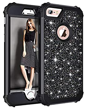 Casetego Compatible with iPhone 6S Case,iPhone 6 Case,Glitter Sparkle Bling Three Layer Heavy Duty Hybrid Sturdy Shockproof Protective Cover Case for Apple iPhone 6/6S,Shiny Black
