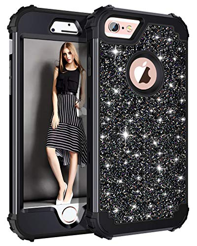 Casetego Compatible with iPhone 6S Plus Case,iPhone 6 Plus Case,Glitter Sparkle Bling Three Layer Heavy Duty Hybrid Sturdy Shockproof Protective Cover Case for Apple iPhone 6 Plus/6S Plus,Shiny Black