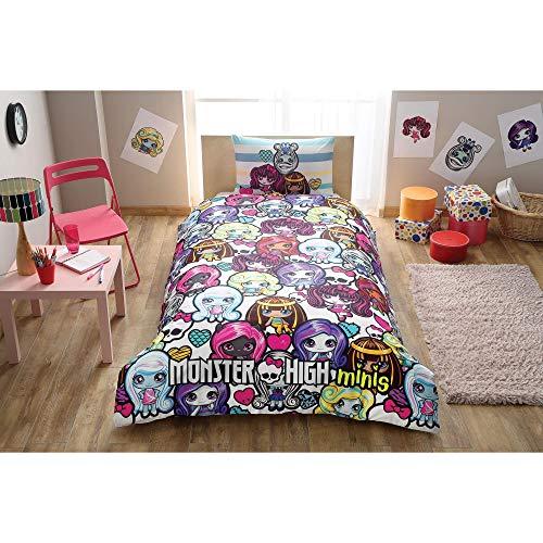 Original Juego de Funda de Edredón, diseño de Monster High Minis, Para Cama individual, 100% algodón, 3 Piezas (funda de edredón + sábana ajustable + funda almohada)