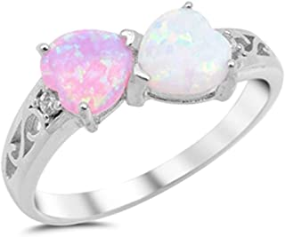 Heart Lab Created Pink Opal & Lab Created White Opal .925 Sterling Silver Ring Sizes 4-10