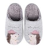 Cute Animal House Slippers for Women Fuzzy Hedgehog Home Shoes Waterproof Sole Indoor Slippers, Pink, 4-5.5 Women / 2.5-4 Men