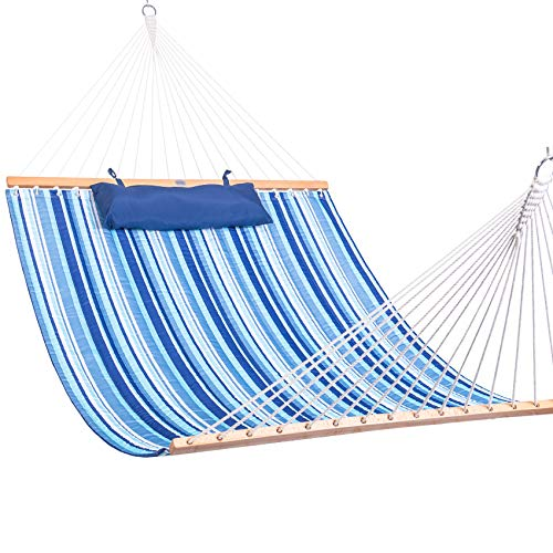 Lazy Daze Hammocks Quilted Fabric Double Hammock with Spreader Bars and Detachable Pillow, 2 Person Hammock for Outdoor Patio Backyard Poolside, 450 LBS Weight Capacity, Blue Stripe