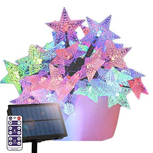 ソーラー イルミネーション スター 星 ストレート LED100球 長さ15m 全3色 リモコン付属 屋外用 防水 大型ソーラーパネル 大容量バッテリー ソーラー充電式 ライト おしゃれ かわいい イルミネーションライト クリスマス ツリー 飾り付け ガー