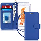 FYY Luxury PU Leather Wallet Case for iPhone 6/6s, [Kickstand Feature] Flip Phone Case Protective Shockproof Folio Cover with [Card Holder] [Wrist Strap] for Apple iPhone 6/6s 4.7' Navy
