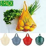 KESOVI Bolsas Reutilizables compra malla, 5 PCS bolsas reutilizables fruta para Almacenamiento Fruta Verduras Juguetes Lavable(5 Colores Algodón Bolsa)