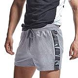 AIMPACT Short de rugby en jersey de coton pour homme - Confortable - Taille élastique - Avec poche zippée - Gris - XL