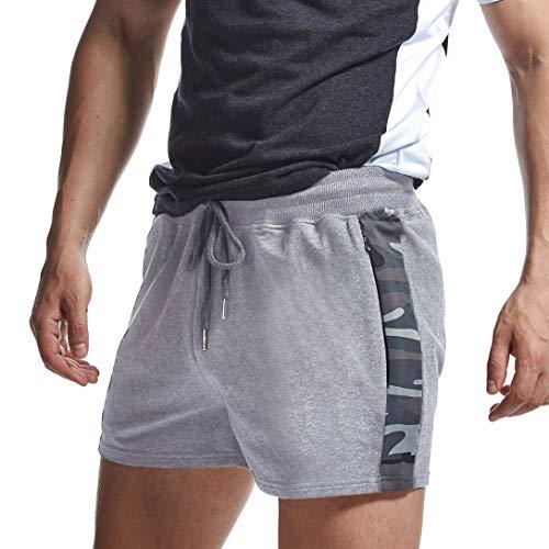 AIMPACT Pantalones cortos de algodón para hombre, de rugby, cómodos, para fitness, con cintura elástica, con bolsillo con cremallera gris S