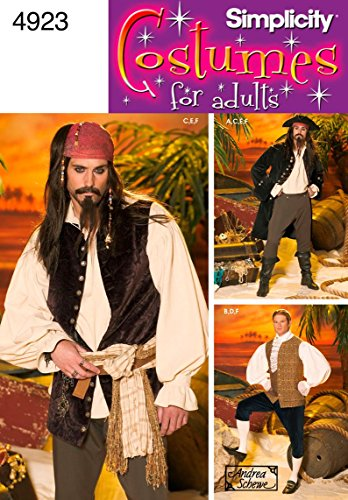 Simplicity 4923 Pirate Costume for Adult Men by Andrea Schewe, Sizes BB (L-XL)