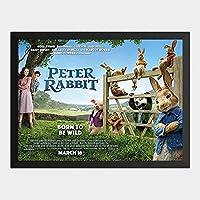 ハンギングペインティング - ピーターラビット PETER RABBIT 2のポスター 黒フォトフレーム、ファッション絵画、壁飾り、家族壁画装飾 サイズ:33x24cm(額縁を送る)