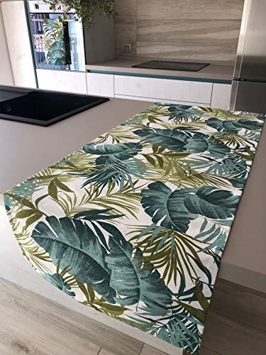 1KDreams Tovaglia Runner da tavola in Cotone. Fantasia Moderna e Fashion con Foglie e Palme. Made in Italy. (50x140 cm)