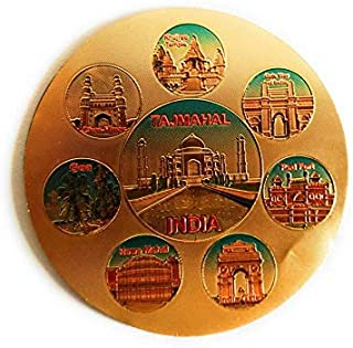 Aayam Design and Solutions Historical Places of India Golden foil Sticker Magnet for Fridge/Magnetic memo Boards Circular ...