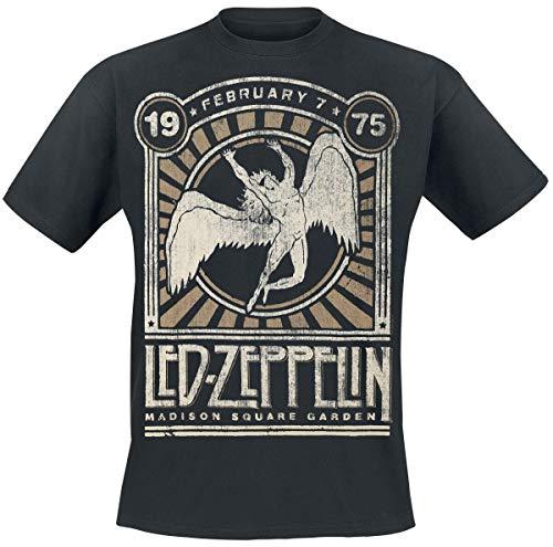 Led Zeppelin Madison Square Garden 1975 Hombre Camiseta Negro 3XL, 100% algodón, Regular