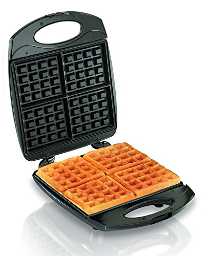 Hamilton Beach 4-Slice Non-Stick Belgian Waffle Maker with Indicator Lights, Compact...
