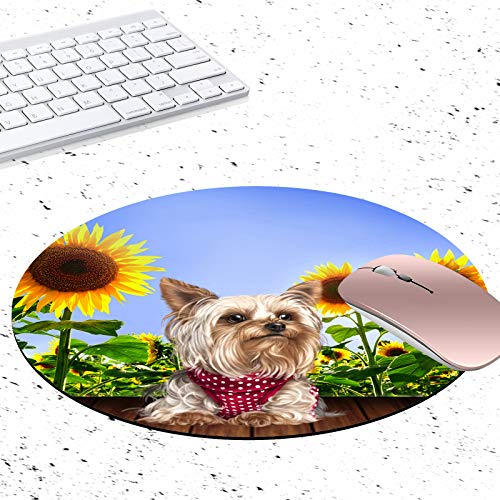 Gaming Mouse Pad, Cute Pug and Sunflower Non-Slip Rubber Circular Mouse Pads Customized Designed for Home and Office, 7.9 x 7.9inch