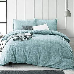 top 10 duvet cover teal JUCFHY King Duvet Cover King Bed Linen Egyptian Cotton Bed Linen 3-piece set, super soft …