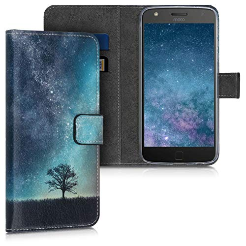 kwmobile Custodia Compatibile con Motorola Moto Z Play - Cover Portafoglio Pelle Sintetica con Chiusura Magnetica - Porta Carte Natura e Spazio