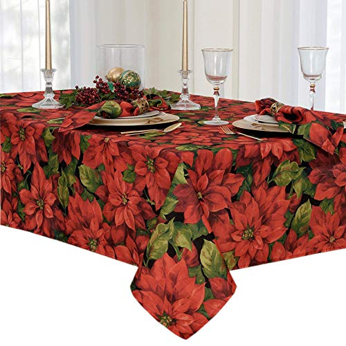 Newbridge Christmas Poinsettia Celebration Fabric Tablecloth, 60 x 84 Inch Oblong