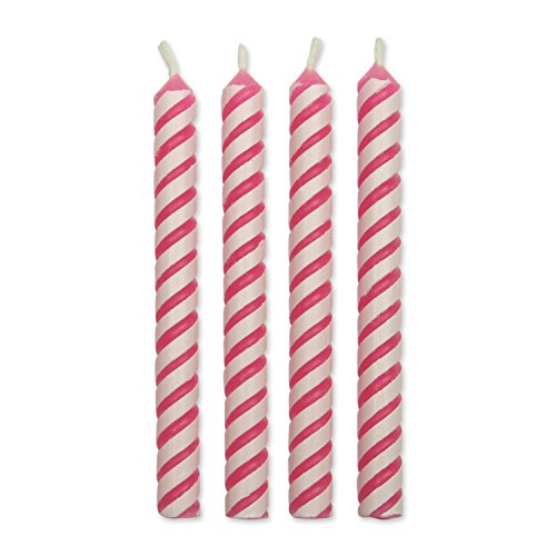 PME Pink Striped Candles, Small Size, 24-Pack