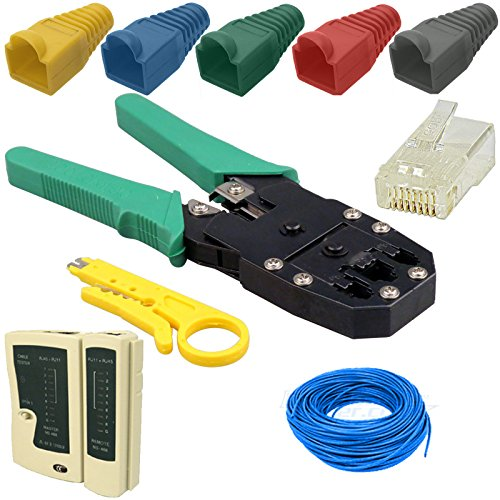 Kabalo 30m Network Ethernet LAN Cat6 RJ45 Cable Tester Crimper Tool Connector Boot Pack - Cavo di Rete - Kit Pinza A CRIMPARE CRIMPATRICE Cavo di Rete 30 Metri Plug CONNETTORE Gommini