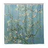 Isaoa Van Gogh Gemälde-Duschvorhang, wasserdicht, schimmelresistent, antibakteriell, personalisiertes Design, Polyesterstoff-Vorhang für Badezimmer 180 x 180 cm mit 12 Haken