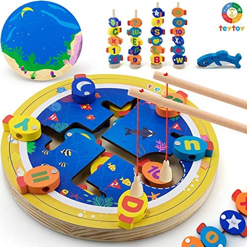 teytoy Magnetic Wooden Fishing Game Set Alphabet Number Shape Learning Educational Toy for Kids product image