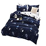 Outer Space Celestial Galaxy Duvet Cover Set, Comforter Set Luxury Soft Bedding, Space Theme Kids Quilt Cover (Blue, 1 Quilt Coverlet & 2 Pillowcases, Queen Size)