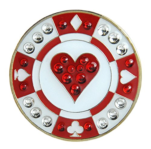 Navika Poker Chip Swarovski Crystal Ball Marker with Hat Clip (Red Heart)